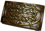 Gold and Silver Plated Celtic Knot Belt Buckle with display stand. Code DD1